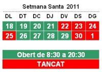 Horaris Setmana Santa 2011